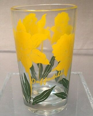1950's Boscul Peanut Butter 5 oz Yellow Daffodils Juice Glass Tumbler 3 3/4""