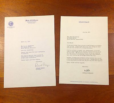 """2 Ronald Reagan Letters, Typed Letter Signed, """"Dutch"""" On His Personal Letterhead"""