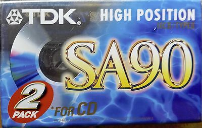TDK SA90 High Position IECII/Type II Cassette Tape Sealed 2 Pack