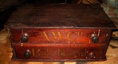 Very old Antique Mercantile Display Cabinet Box AW Co Roll Braid