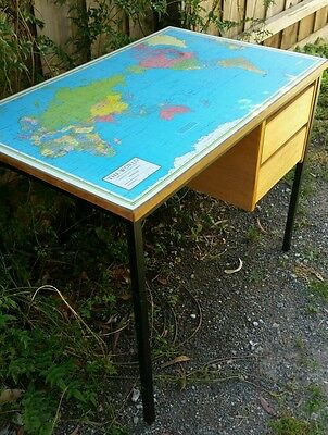 Rustic Vintage child's desk with map of world