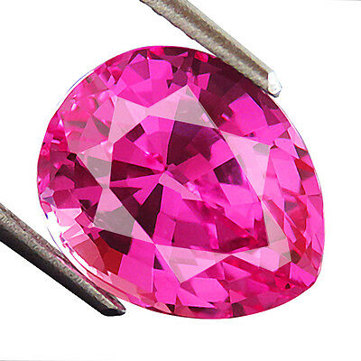 8.00ct GORGEOUS BUBBLE PINK SAPPHIRE PEAR LAB CREATED LOOSE GEMSTONE saphir rose