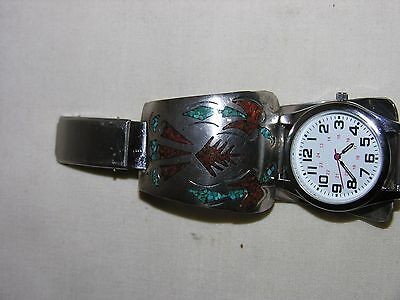 Men's Silver Tone Navajo Style Watch With Turquoise & Red Coral Sterling Tips