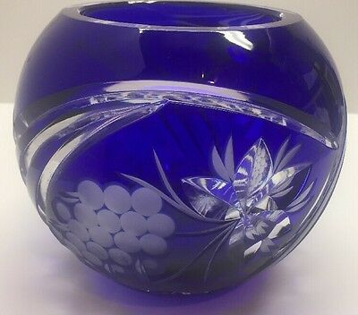 Vintage Cobalt Blue Rose Bowl Cased Crystal Cut To Clear!! Beautiful!!!