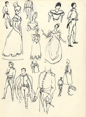 Paul Sharp - Mid 20th Century Pen and Ink Drawing, Costume Studies