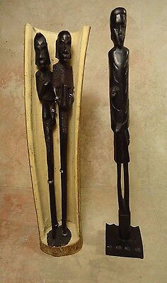 Tribal  African Hand Carved Wood Man And Woman Figurine Sculptures Set of 3