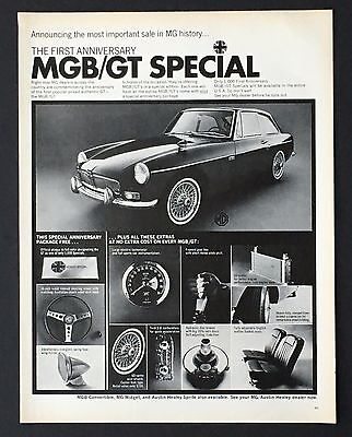 1967 MGB/GT Special Original Advertisement First Anniversary Car AD