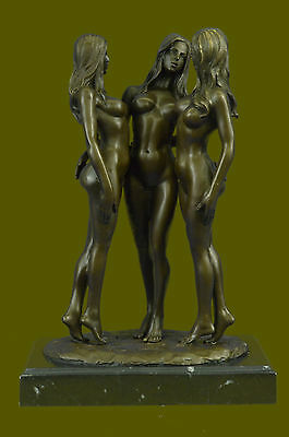 Three nude bronze Naked Girl statuettes statues Figurines by Mavchi  DB