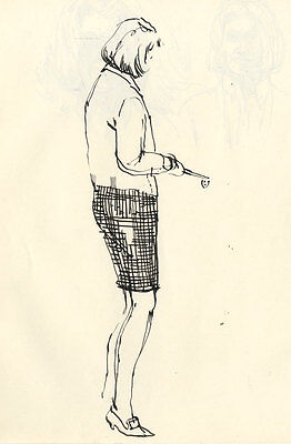 Paul Sharp - Mid 20th Century Pen and Ink Drawing, Standing woman