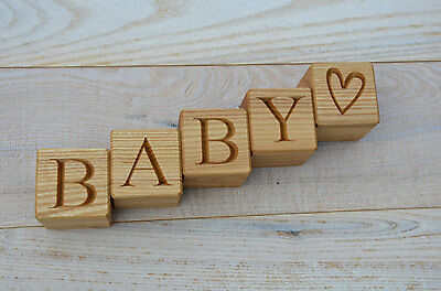 1.6'' Large Personalized Wood Name Blocks, Wood Cubes with Alphabet Letters