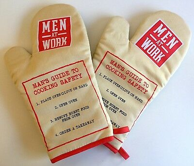 Novelty Oven Gloves Mitts Men At Work Man's Guide To Cooking Baking Kitchen BBQ