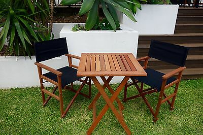 New Yarra 3 Piece Setting: 2 Directors Chairs and Square Table Outdoor Furniture
