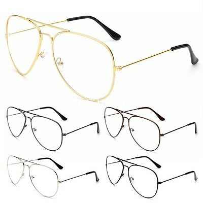 Classic Fashion Pilot Sunglasses Gold Metal Frame Clear Lens Glasses Geek New