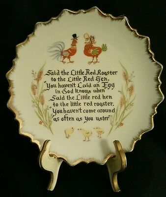 """Retro """"Red Rooster to Red Hen"""" Plate"""