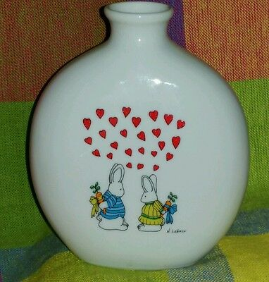 Adorable Bunnies in Love Vase by Oatmeal Studios for Papel
