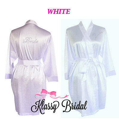 Bride Bridesmaid Robes Personalised Bridal Wedding Dressing Gowns Wifey WHITE