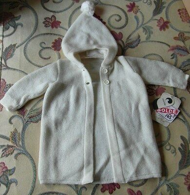 BNWT Gorgeous Vintage Cream Hooded Baby Cardigan 1970's Baby Clothes