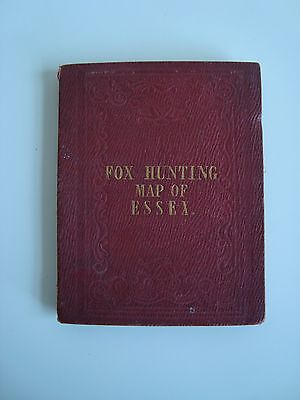 Essex Fox Hunting Map on Linen By J & C Walker. Hand coloured