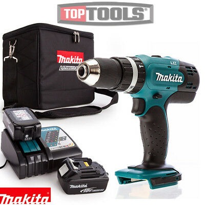Makita DHP453Z 18V 2 Speed Combi Drill + 2 x 5Ah Batteries, Charger & Cube Bag