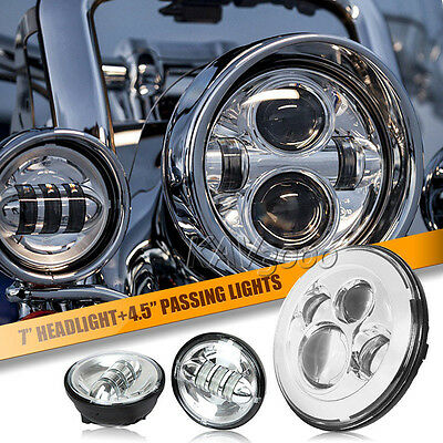 """7"""" Chrome LED Projector Daymaker Headlight + Passing Lights Fits Harley Touring"""