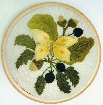 'Brimstone Butterfly and Blackberries'- Stumpwork and Crewel Embroidery kit