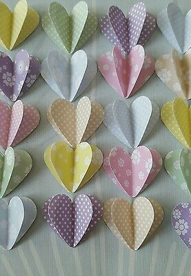 "24 3D Paper Hearts 1.5 "" Flowers and Spots Scrapbooking / Cardmaking / Crafts.."