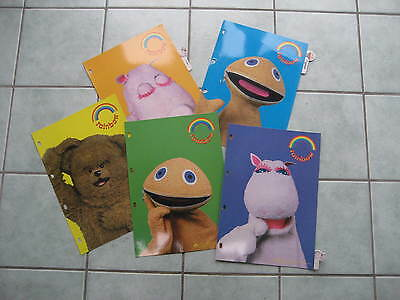 5 part Subject File dividers- RETRO- used but good - Rainbow TV character files