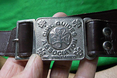 Vintage Girl Guide leather belt with metal buckle.