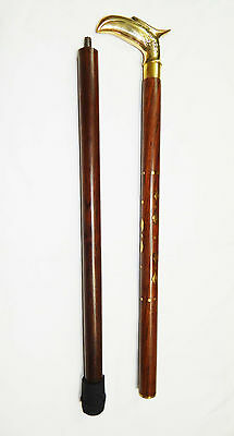 Eagle Head Brass handle Wooden Cane Walking Stick Hand Carved Gift AU02