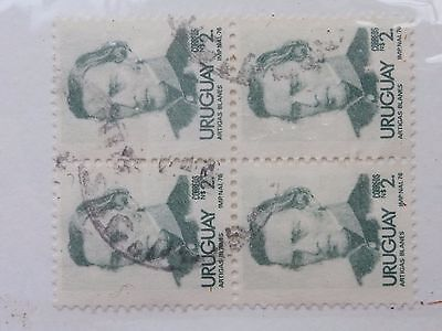 URUGUAY STAMPS  --  SG  1649  -  1976 - BLOCK OF FOUR USED 2p