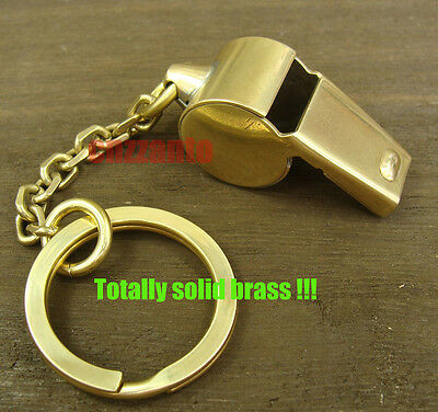Bodiness Solid Brass EDC Vintage Outdoor Key Chain Ring pendant whistle H120
