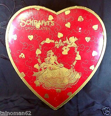 Vintage Schrafft's Valentine Heart Shaped Candy Box Gold  Poil Accents