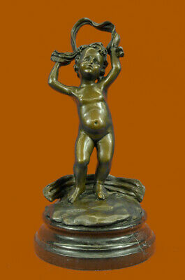 Handmade bronze sculpture /Signed Style Deco Art Children/Cherubs DB