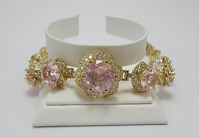 925 Silver New Design Pink Topaz Lady Tennis Bracelet