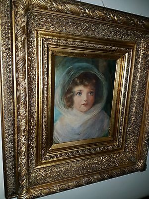 Superb Pastel Or Watercolour  Painting Portrait Of A Young Girl  19Th Century