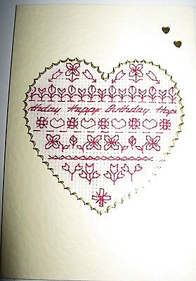 Birthday Card Completed Cross Stitch Words in a Heart 6x4""