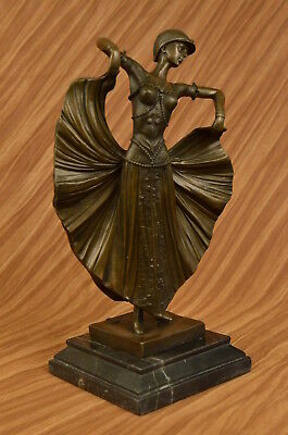 """Bronze-Marble Sculpture """"Butterfly Dancer"""" By Chiparus Signed-Figurine Figure"""