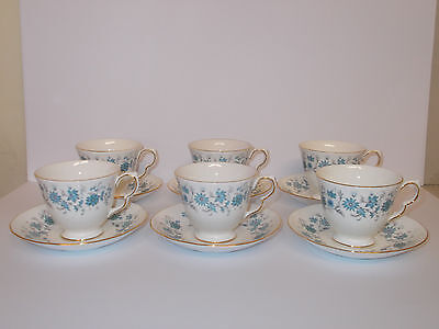 6 x Colclough Bone China Tea Cups and Saucers Blue Floral Design Lovely