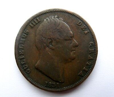 William IV Bronze Halfpenny dated 1831, Nice Patina.