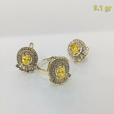 Hurrem Sultan Sterling 925 Silver Handmade Jewelry Fabulous Yellow Citrine Set