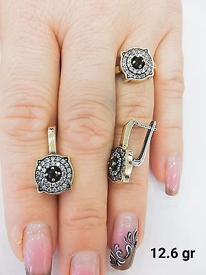 925 Sterling Silver Handmade Jewelry Black Onyx Earring & Ring Sets