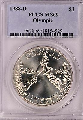 1988-D Olympic Silver Commemorative Dollar MS69 PCGS Mint State 69