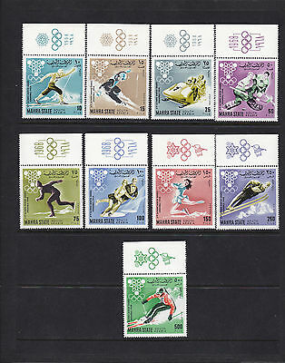 Mahra State 1968 South Arabia #39-47 10th Winter Olympic Games with margins MNH