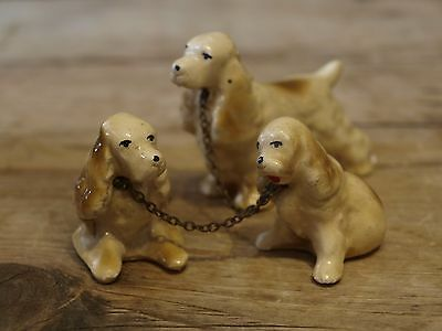 Set of 3 Vintage Clay Dogs on Chains Cocker Spaniel - Antique Ornament