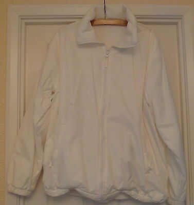Bowling Coat White - REDUCED Fleece Lined Size M