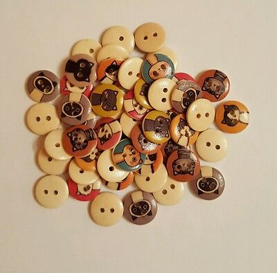 100 x 15mm assorted 2 hole cat design wooden buttons sewing/crafts