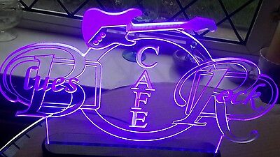 Blues rock cafe table light up sign