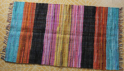 Indian Chindi Rag Rug Hand Woven Hand made Mat Recycled Cotton Striped Rag Rug