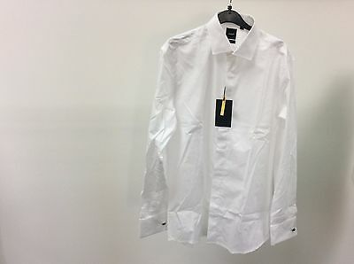 Mens White Standard Plain Slim Fit Tuxedo Dinner Dress Shirt Size 16 - 10310
