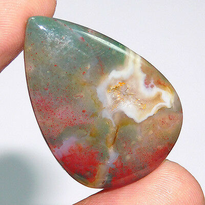 28.55Cts 100%NATURAL UNTREATED BLOOD STONE DRUZY  35X24 LOOSE GEMSTONE PO485